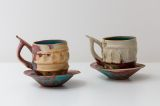 Porcelain cups 1979. 10 cm high. Reduction fired.