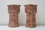 Pair of Pink Pots. 1984. 54cm high. Stoneware T Material.